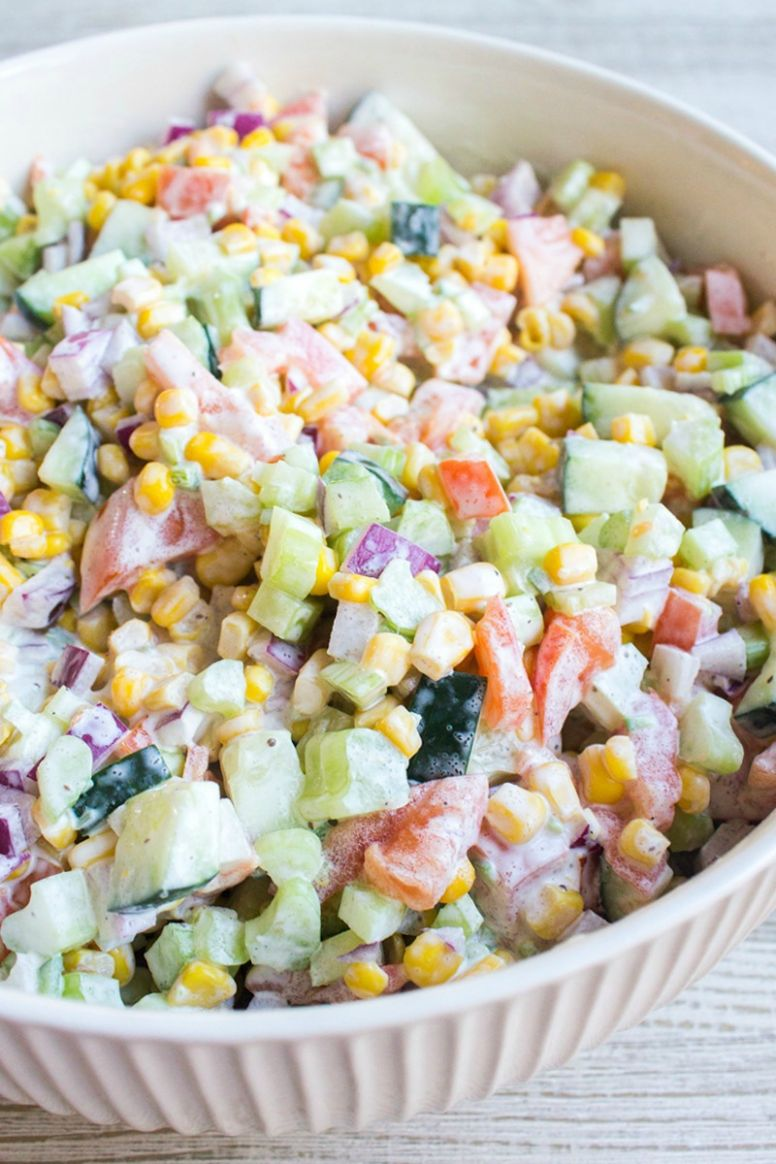 Fresh Vegetable Salad with Video • Bread Booze Bacon - Vegetable Recipes With Fresh Cream