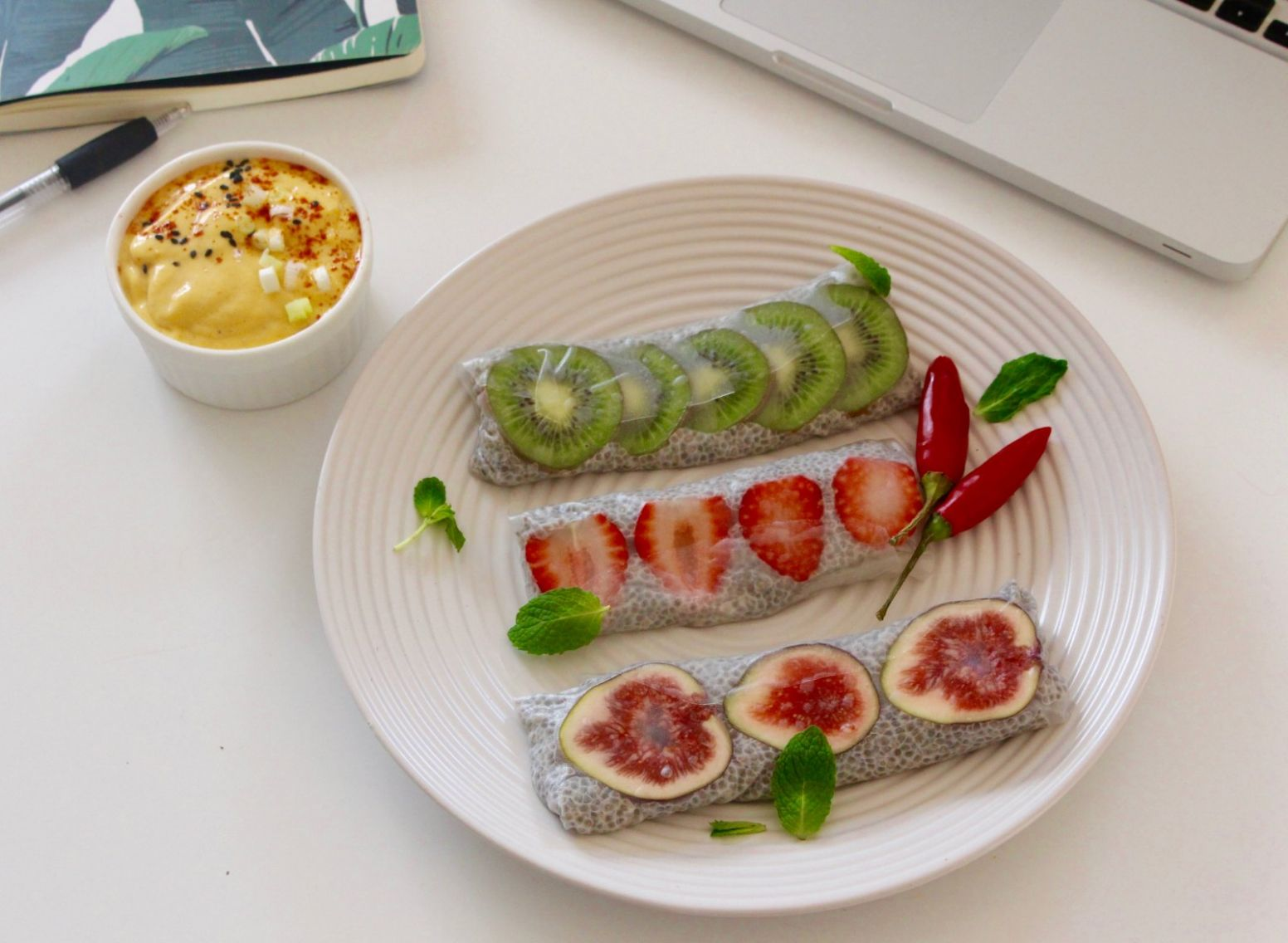 Fruit-Chia Rice paper rolls in a Mango Tahini Dipping sauce Recipe - Recipes Using Rice Paper