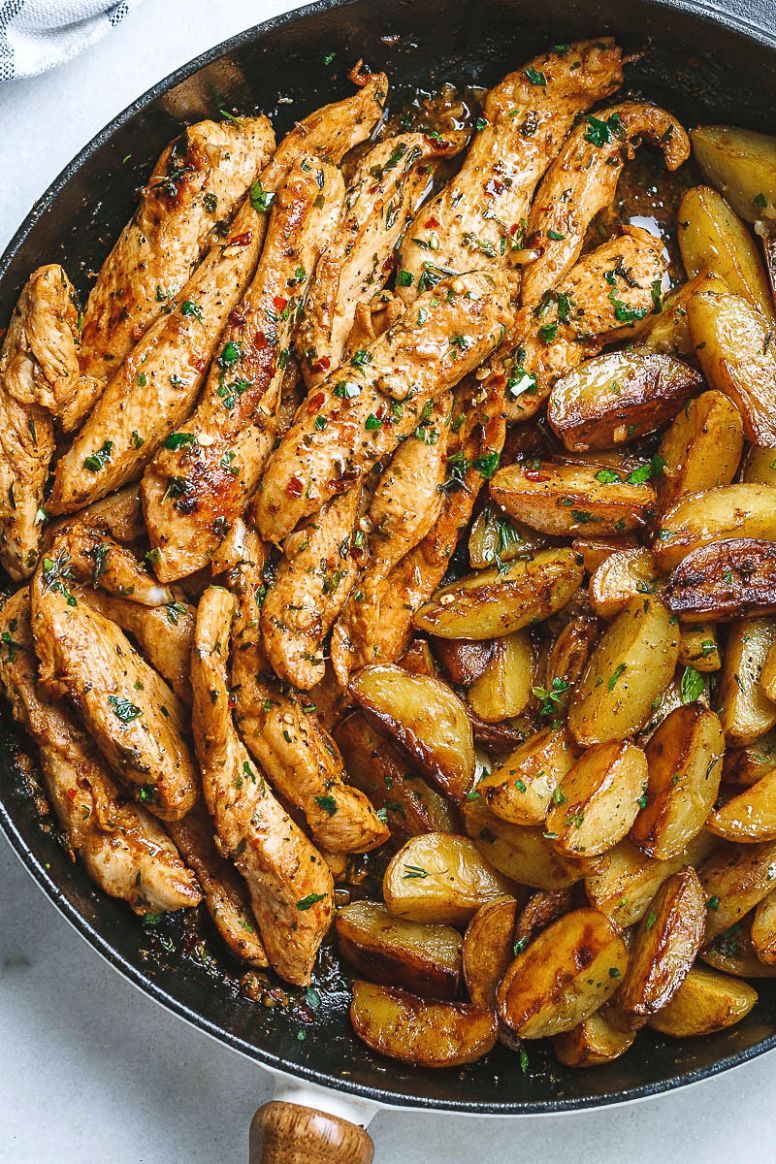 Garlic Butter Chicken and Potatoes Skillet - Potato Recipes Easy For Dinner