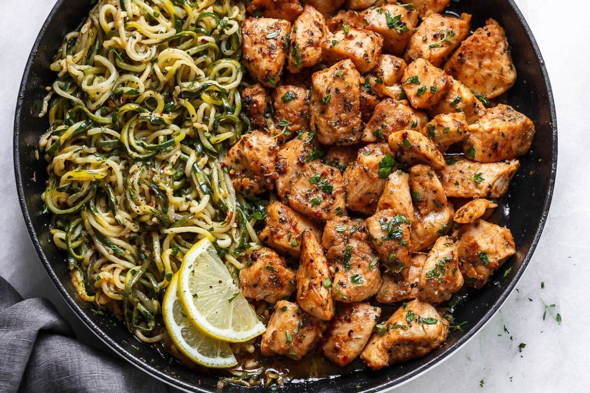 Garlic Butter Chicken Bites with Lemon Zucchini Noodles - Dinner Recipes With Zucchini And Chicken