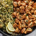 Garlic Butter Chicken Bites With Lemon Zucchini Noodles – Recipe Chicken Zucchini Pasta
