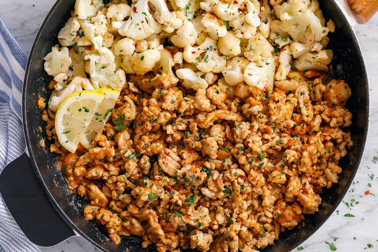 Garlic Butter Ground Turkey with Cauliflower Skillet - Healthy Recipes Using Ground Turkey
