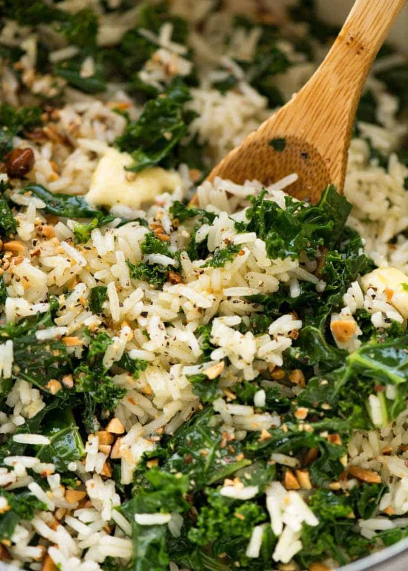 Garlic Butter Rice with Kale - Recipes Jasmine Rice