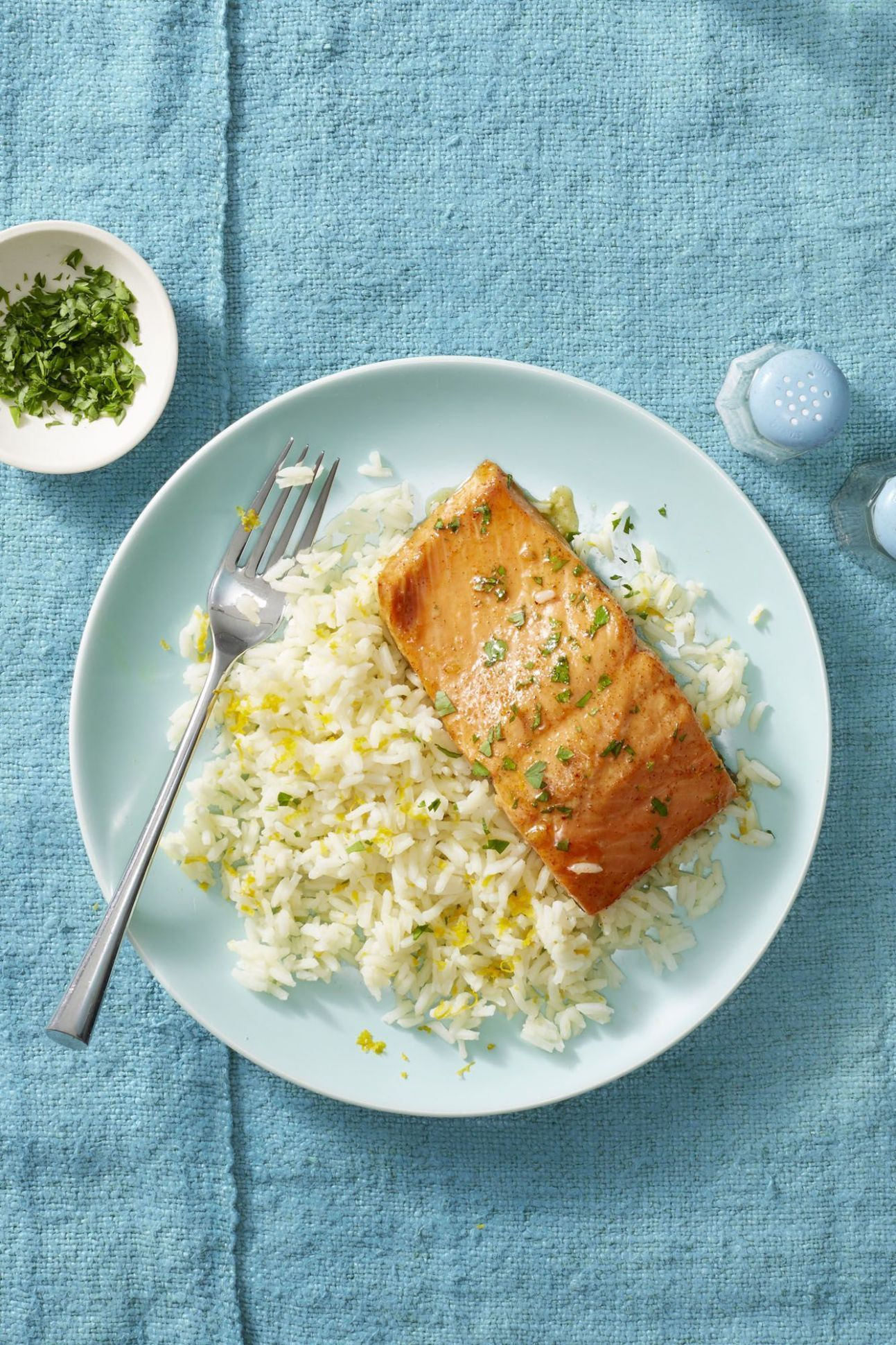 Garlic Butter Salmon and Citrus Rice