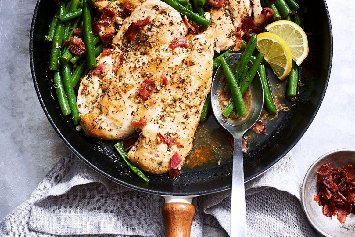 Garlic Lemon Chicken Breasts with Bacon Green Beans - Recipe Chicken Breast Green Beans