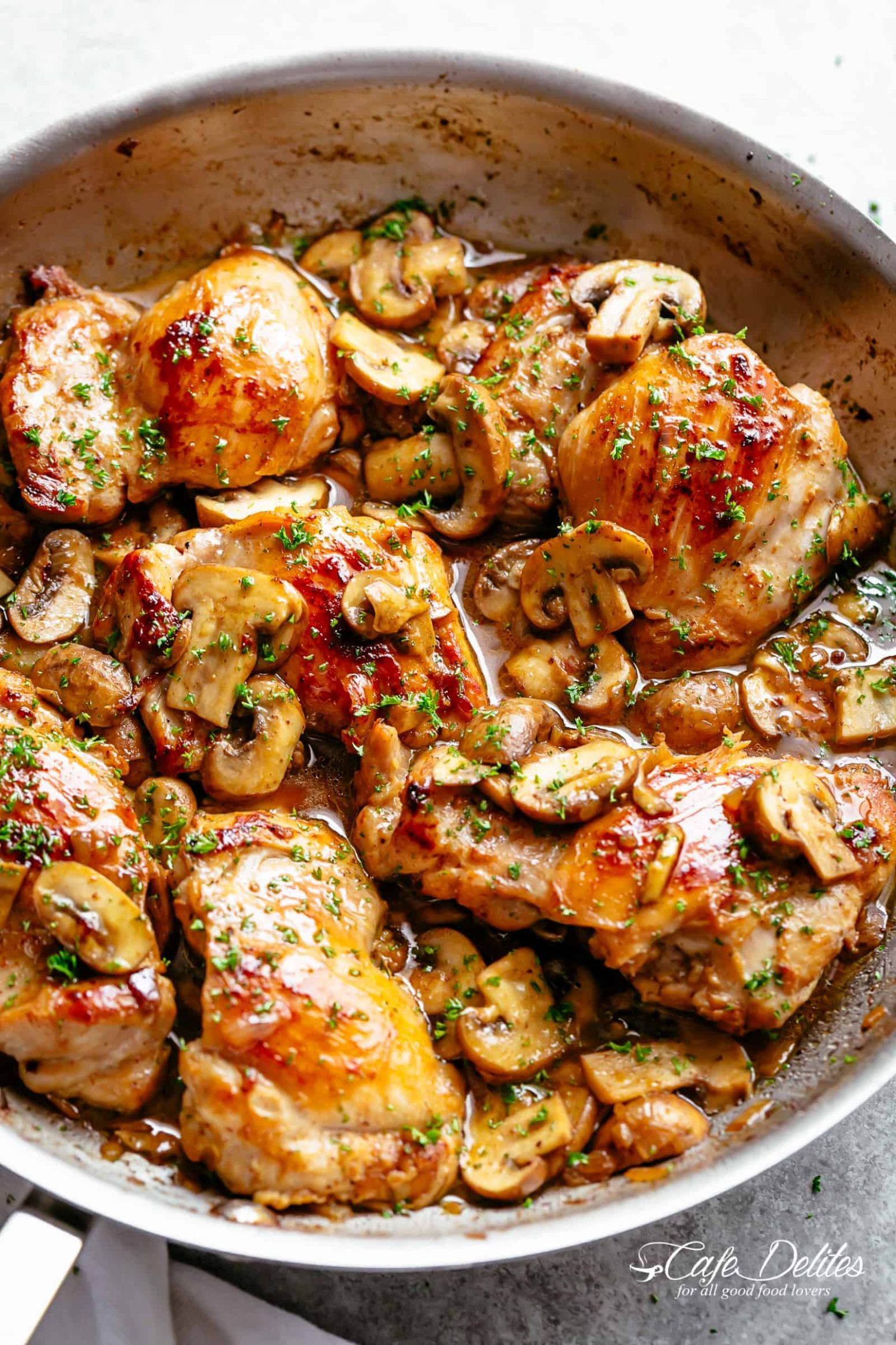 Garlic Mushroom Chicken Thighs - Cafe Delites - Recipes With Chicken Breast For One
