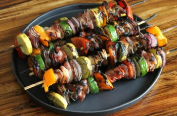 Get grilling: veggie and bacon kebabs - Jess Pryles