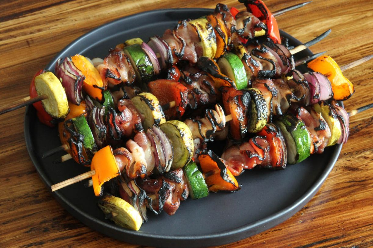 Get grilling: veggie and bacon kebabs - Jess Pryles - Recipe Vegetarian Kebabs