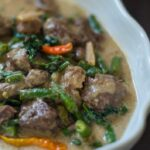Ginataang Baka – Beef in Coconut Milk with Green Beans and Spinach