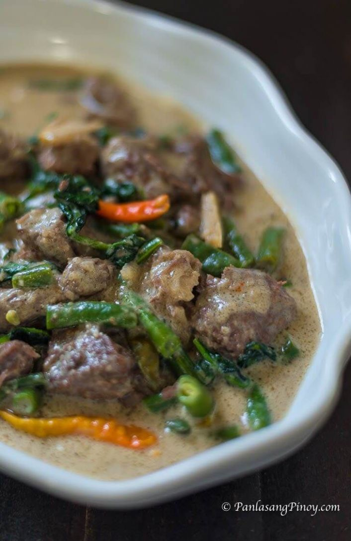 Ginataang Baka – Beef in Coconut Milk with Green Beans and Spinach - Beef Recipes Pinoy