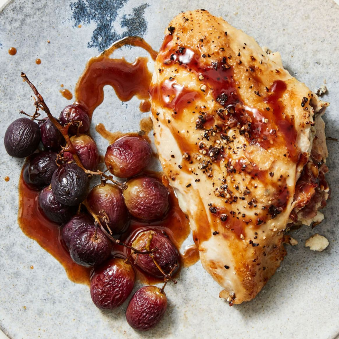 Goat Cheese & Prosciutto Stuffed Chicken Breasts with Roasted Grapes - Recipe Chicken Breast Grapes