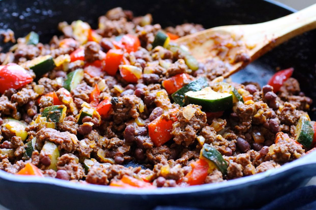 Grass Fed Beef and Zucchini Skillet Supper - Ground Beef Recipes Zucchini
