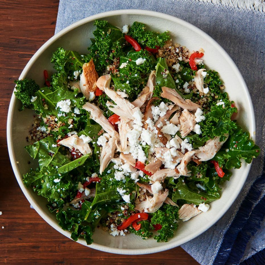 Greek Kale Salad with Quinoa & Chicken - Salad Recipes With Quinoa And Chicken
