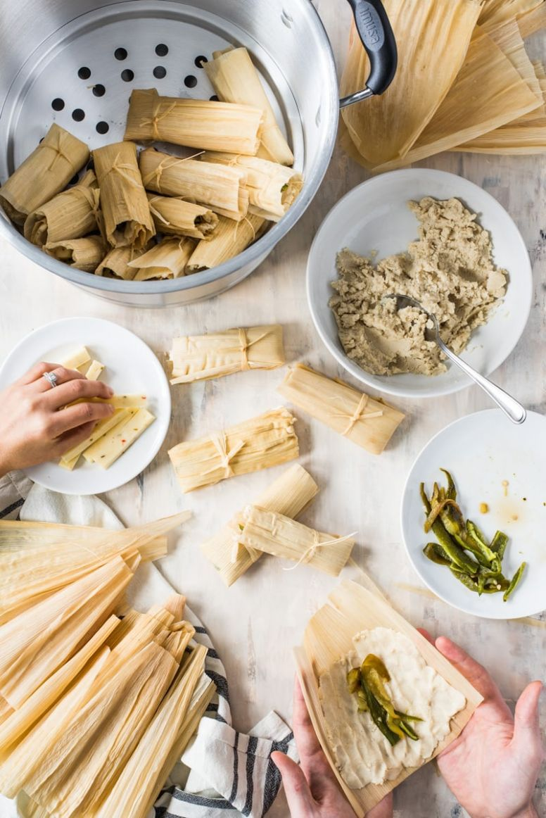 Green Chile and Cheese Vegetarian Tamales - Isabel Eats