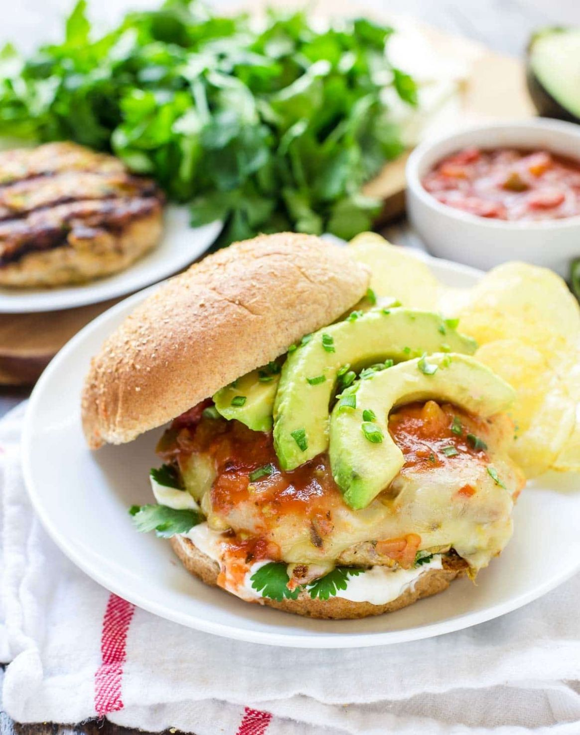 Green Chile Grilled Chicken Burgers - Recipes Chicken Burgers