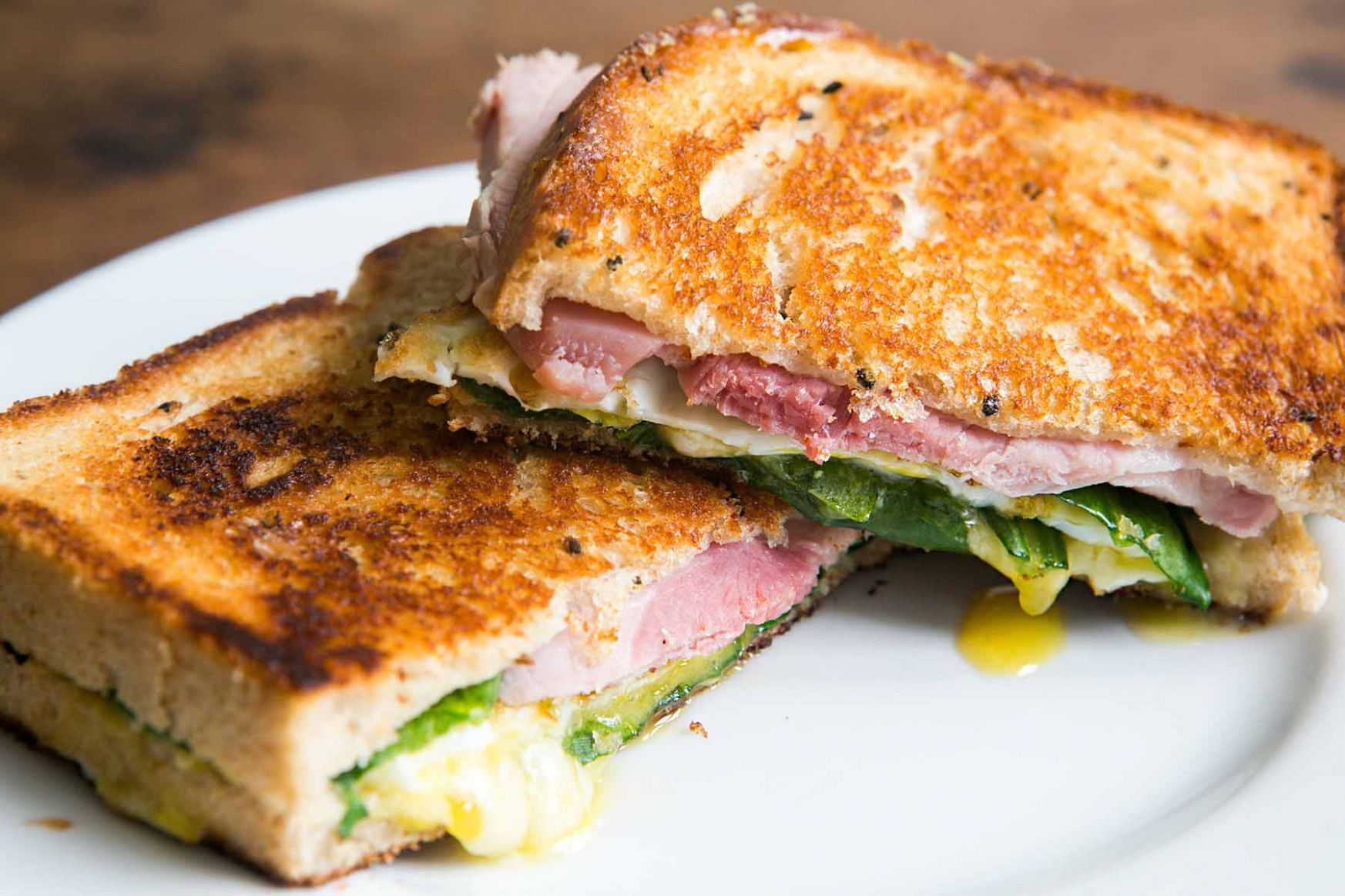 Greens, Eggs, and Ham, Grilled Cheese Sandwich - Sandwich Recipes To Go