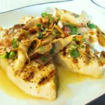 Grilled Halibut Recipe with Garlic Lemon Butter Sauce | Grilled ...