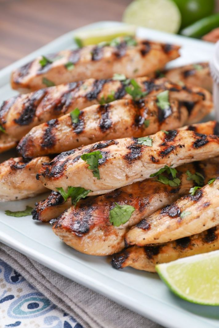 Grilled Pineapple Chicken Strips with Creamy Lime Dipping Sauce (Two Ways!) - Recipes Chicken Breast Strips