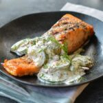 Grilled Salmon With Creamy Cucumber Dill Salad – Recipe Fish Dill