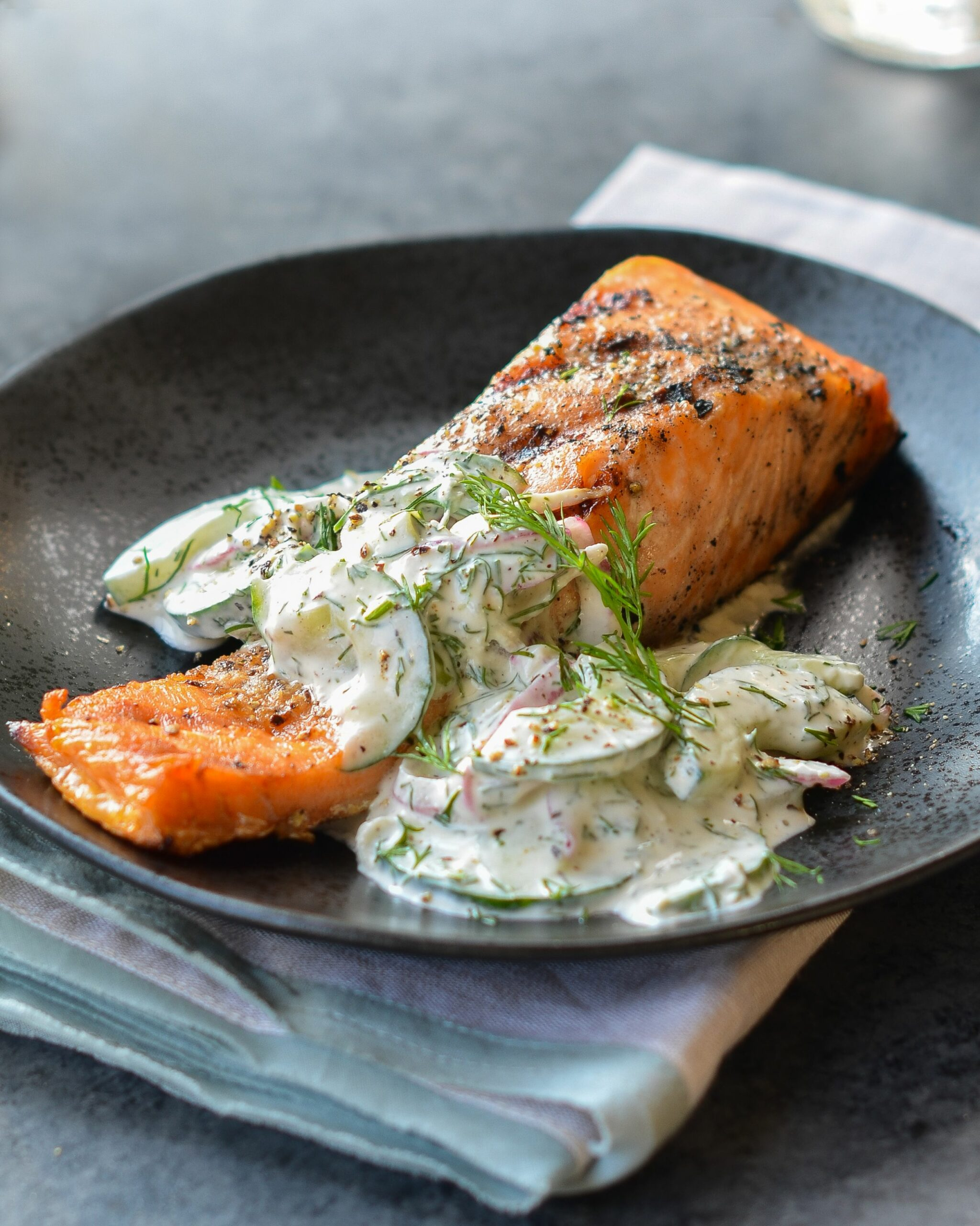 Grilled Salmon with Creamy Cucumber-Dill Salad - Recipe Fish Dill