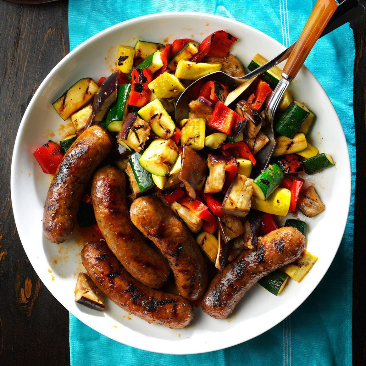 Grilled Sausages with Summer Vegetables - Recipes Using Summer Sausage