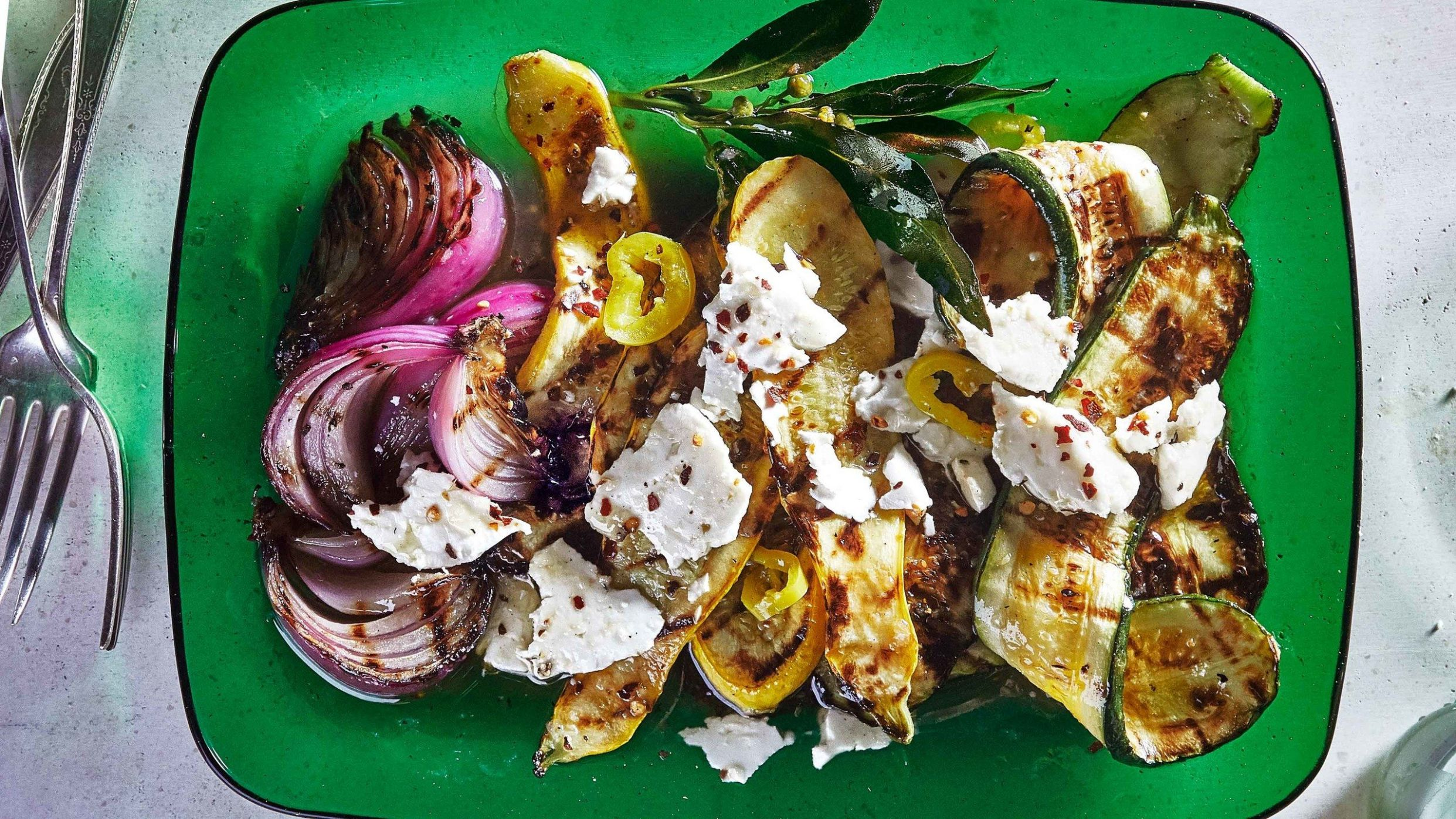 Grilled Summer Squash and Red Onion with Feta - Summer Recipes No Grill