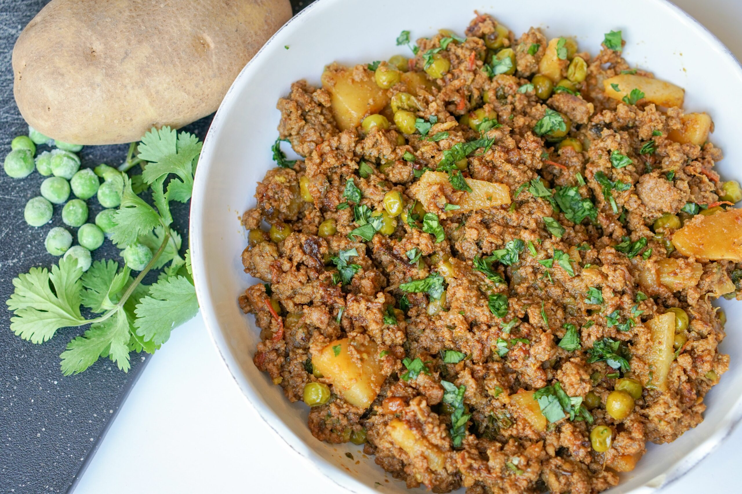 GROUND BEEF CURRY WITH POTATOES & PEAS - Keema Cooking Recipes