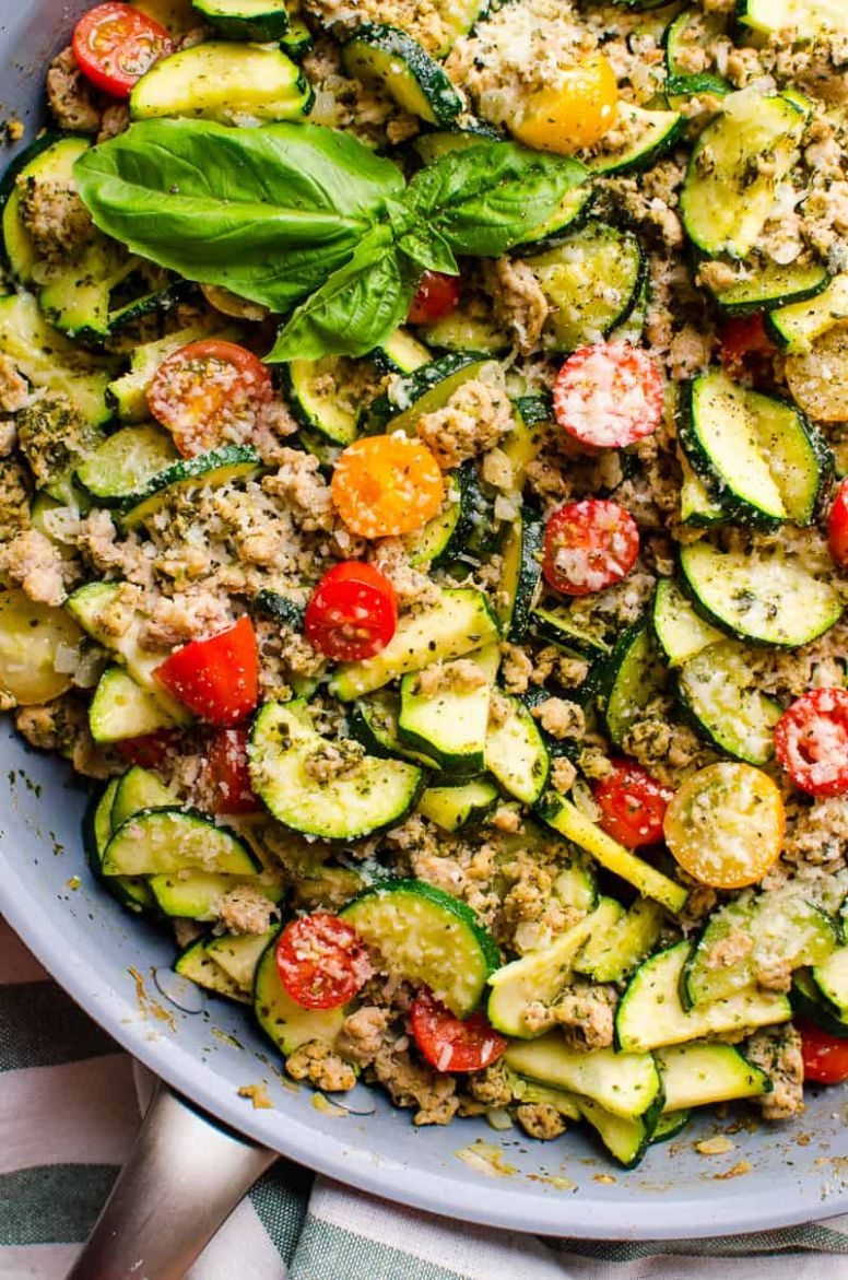 Ground Turkey Zucchini Skillet with Pesto - iFOODreal - Healthy Recipes Using Ground Turkey