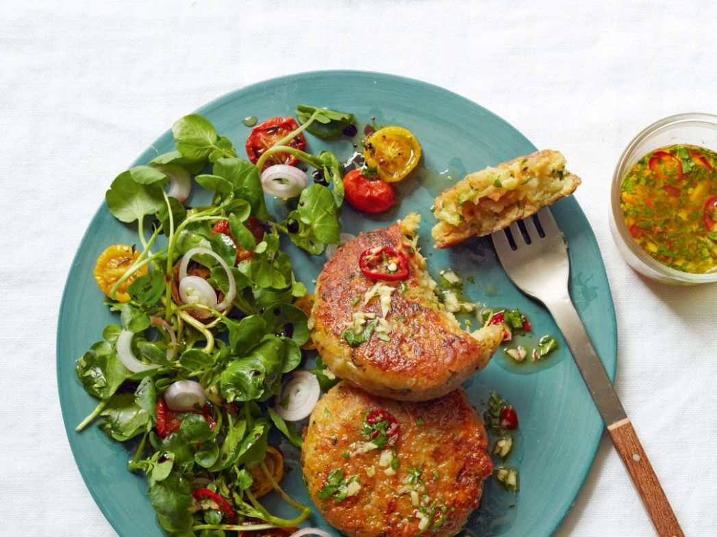 Halloumi, Courgette and Herb Cakes - Recipes Fish Halloumi