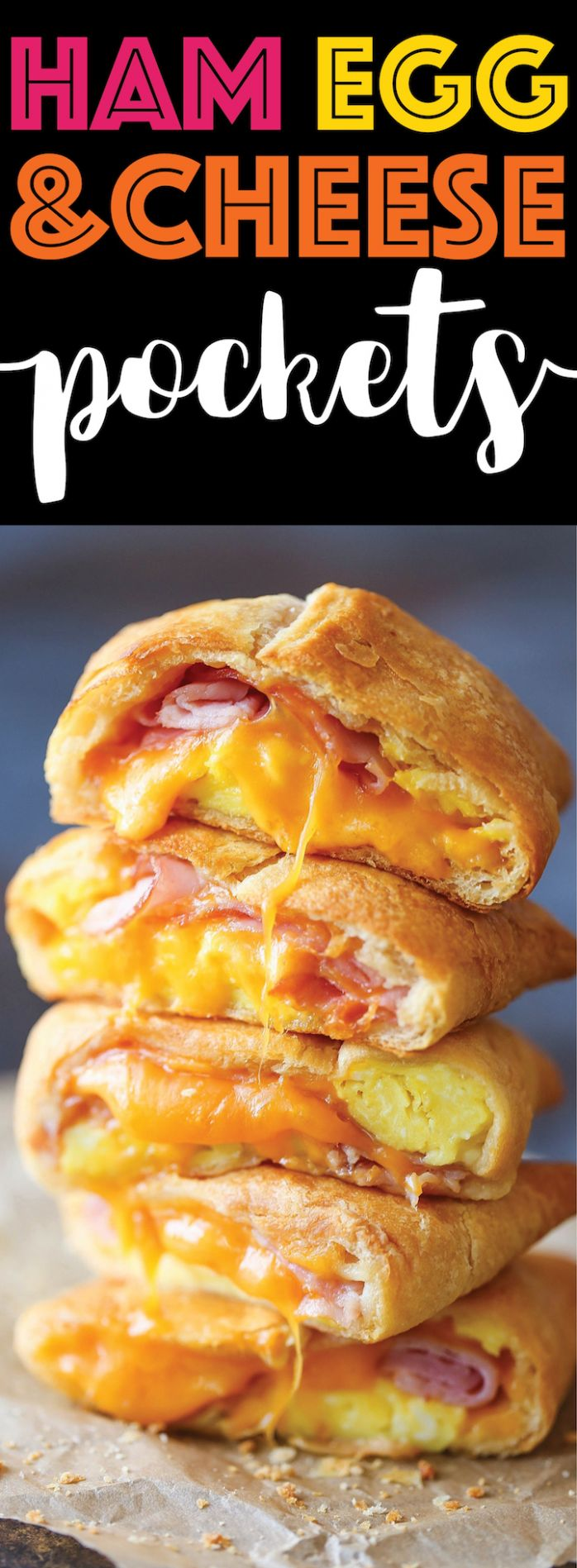 Ham Egg and Cheese Pockets - Breakfast Recipes Easy To Make