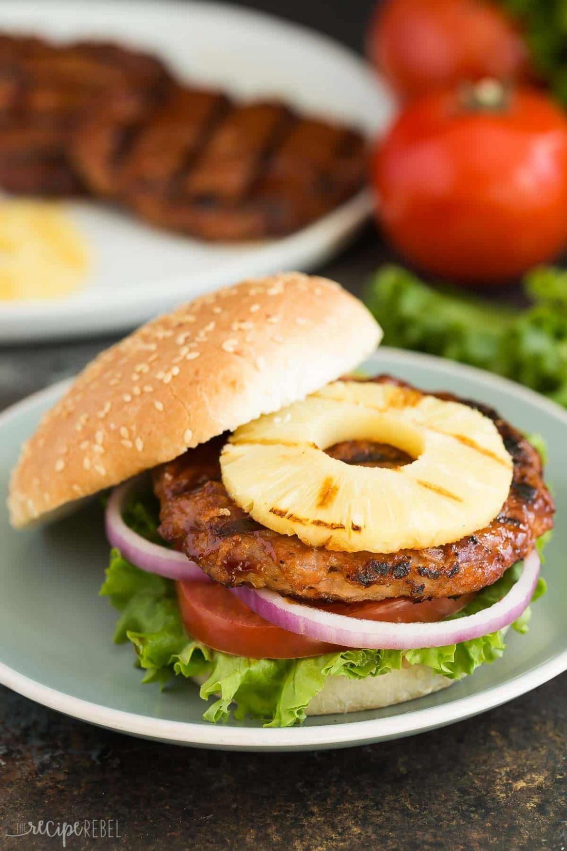 Hawaiian Chicken Burgers with Grilled Pineapple - Recipes Chicken Burgers