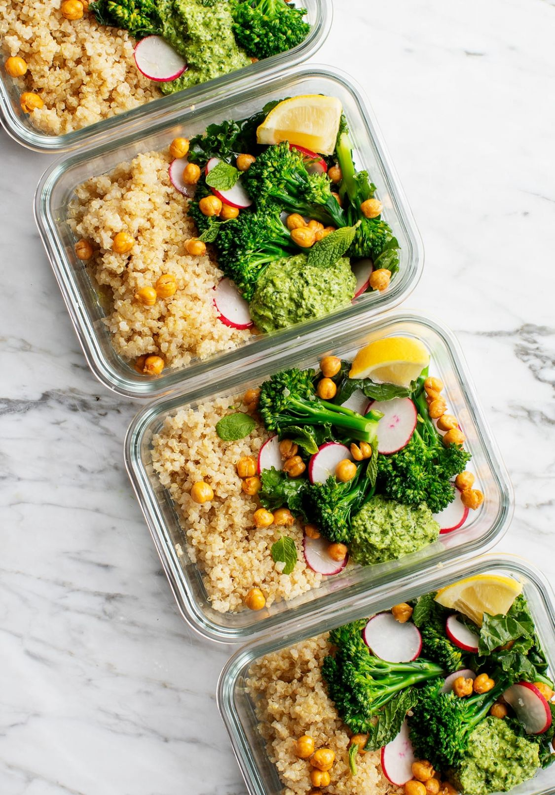 Healthy Meal Prep Ideas - Broccoli Quinoa Bowls - Dinner Recipes Meal Prep