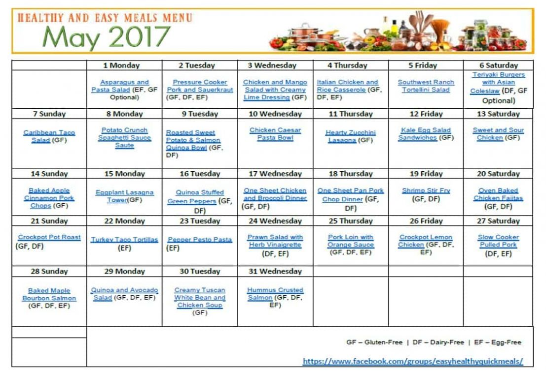 Healthy, Quick & Easy Meal Plan - 12 Recipes & Printable Menu Plan - Healthy Recipes Meal Plan