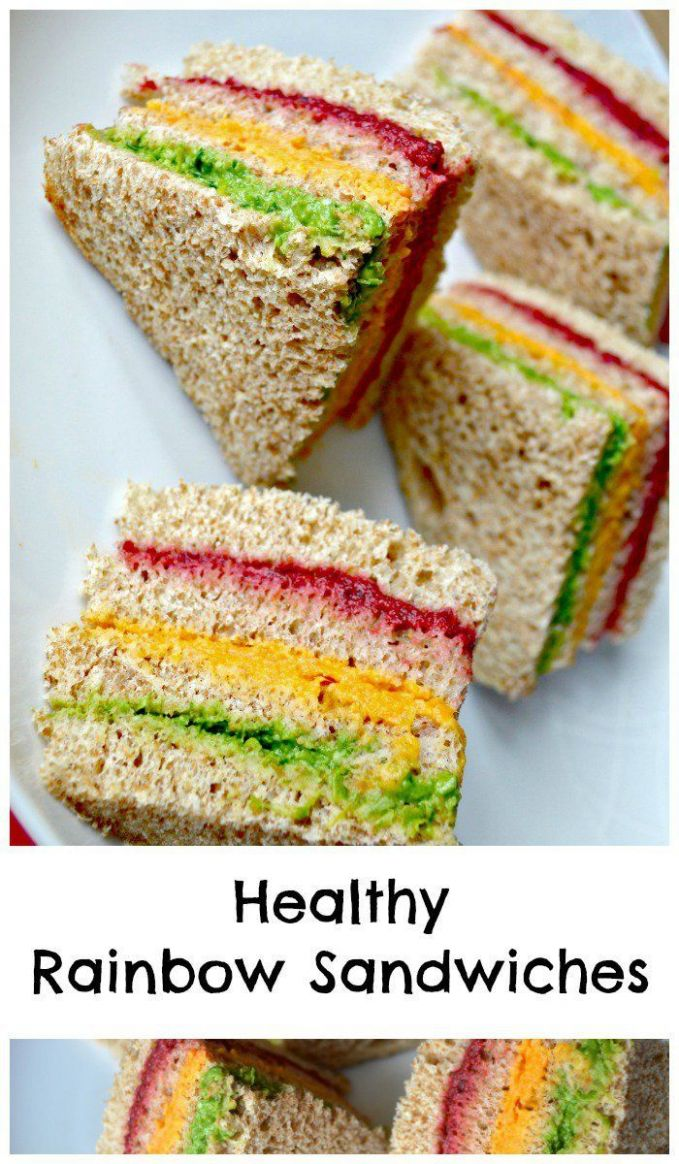 Healthy Rainbow Sandwiches Kids Lunch Idea | Kids meals, Baby food ..