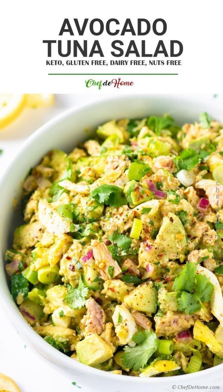 Healthy Tuna Salad with avocado and zesty Mustard dressing without ..