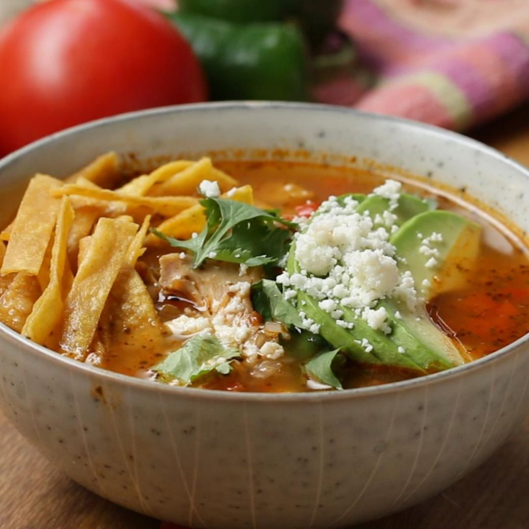 Hearty Chicken Tortilla Soup Recipe by Tasty - Soup Recipes Tasty