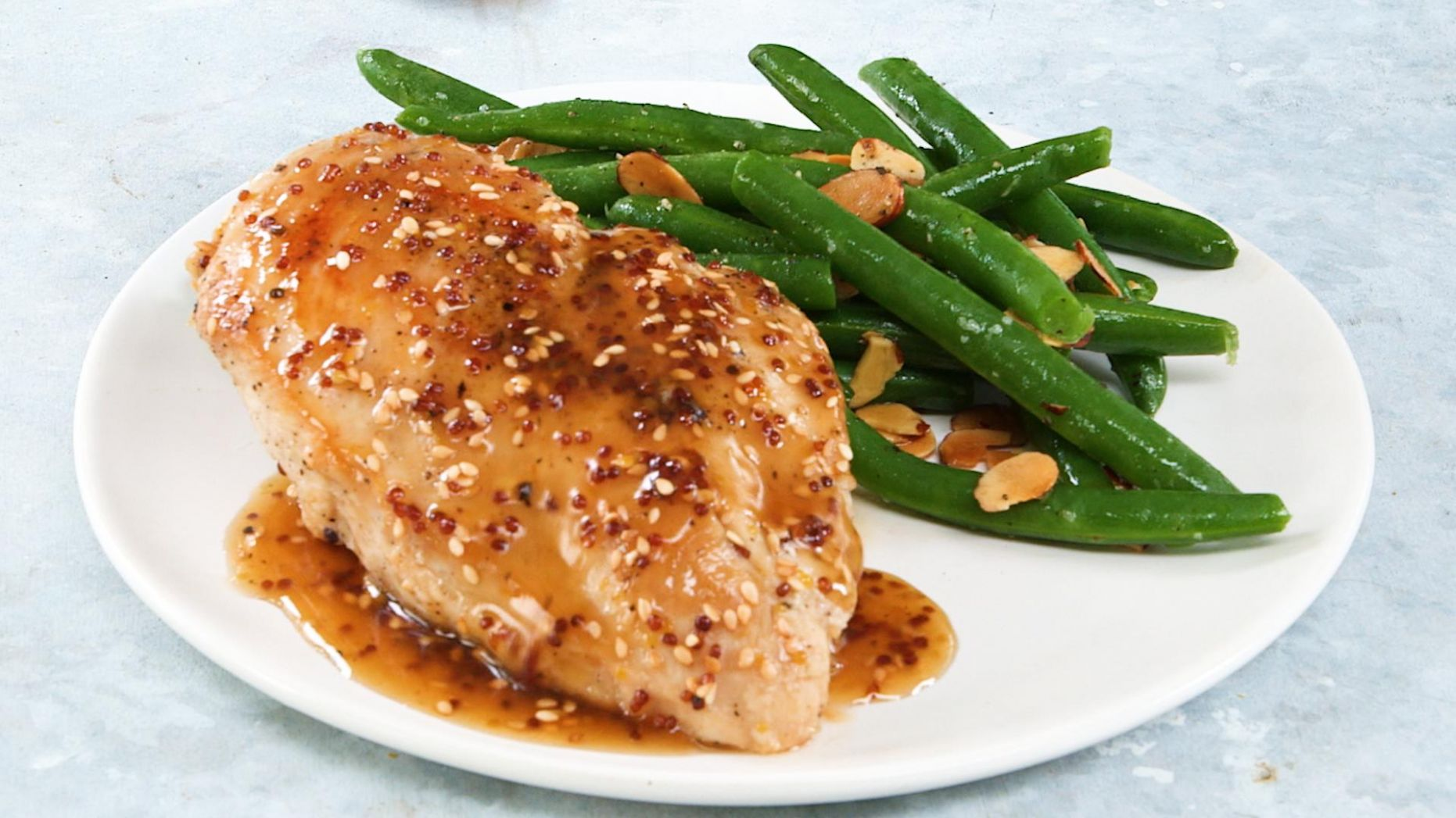 Honey and Sesame-Glazed Chicken Breasts with Green Beans - Recipe Chicken Breast Green Beans