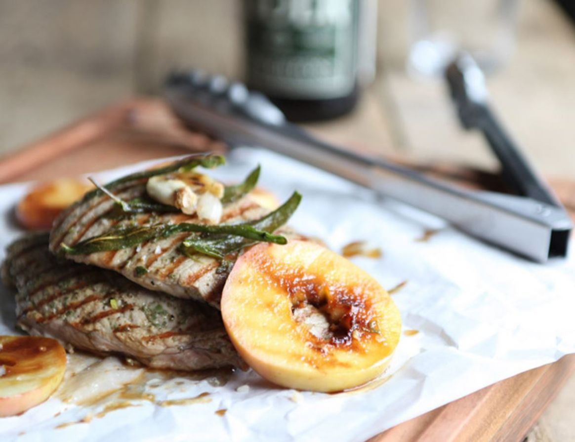 Honey Pork Escalopes with Grilled Apples