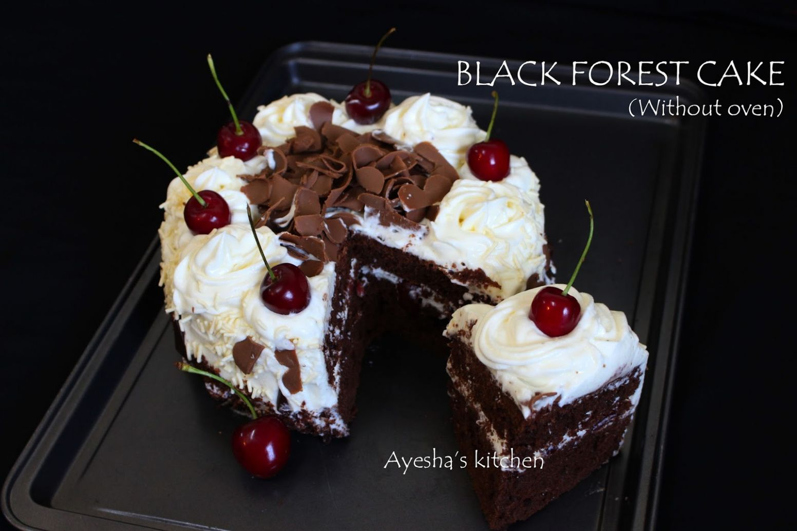 How to make black forest cake | Black forest cake recipe without oven - Cake Recipes Malayalam