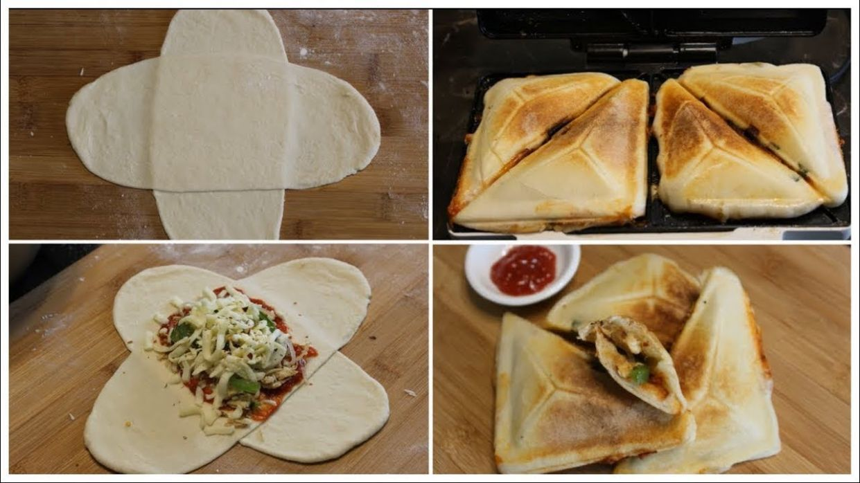 HOW TO MAKE PIZZA IN SANDWICH MAKER WITH PIZZA DOUGH || KIDS LUNCH BOX  IDEA|| - Recipes For Sandwich Griller