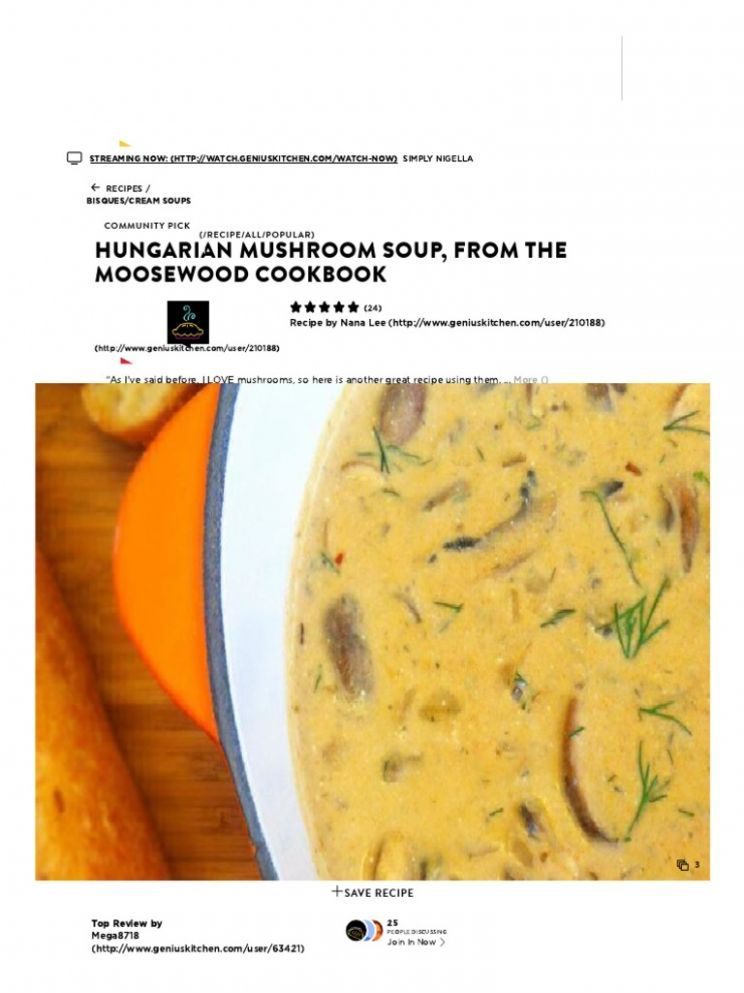 Hungarian Mushroom Soup, From the Moosewood Cookbook Recipe ...