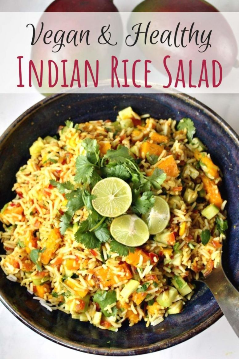 Indian Rice Salad with Mango & Lime Dressing | Vegan Salad Recipes - Rice Recipes Veg Indian
