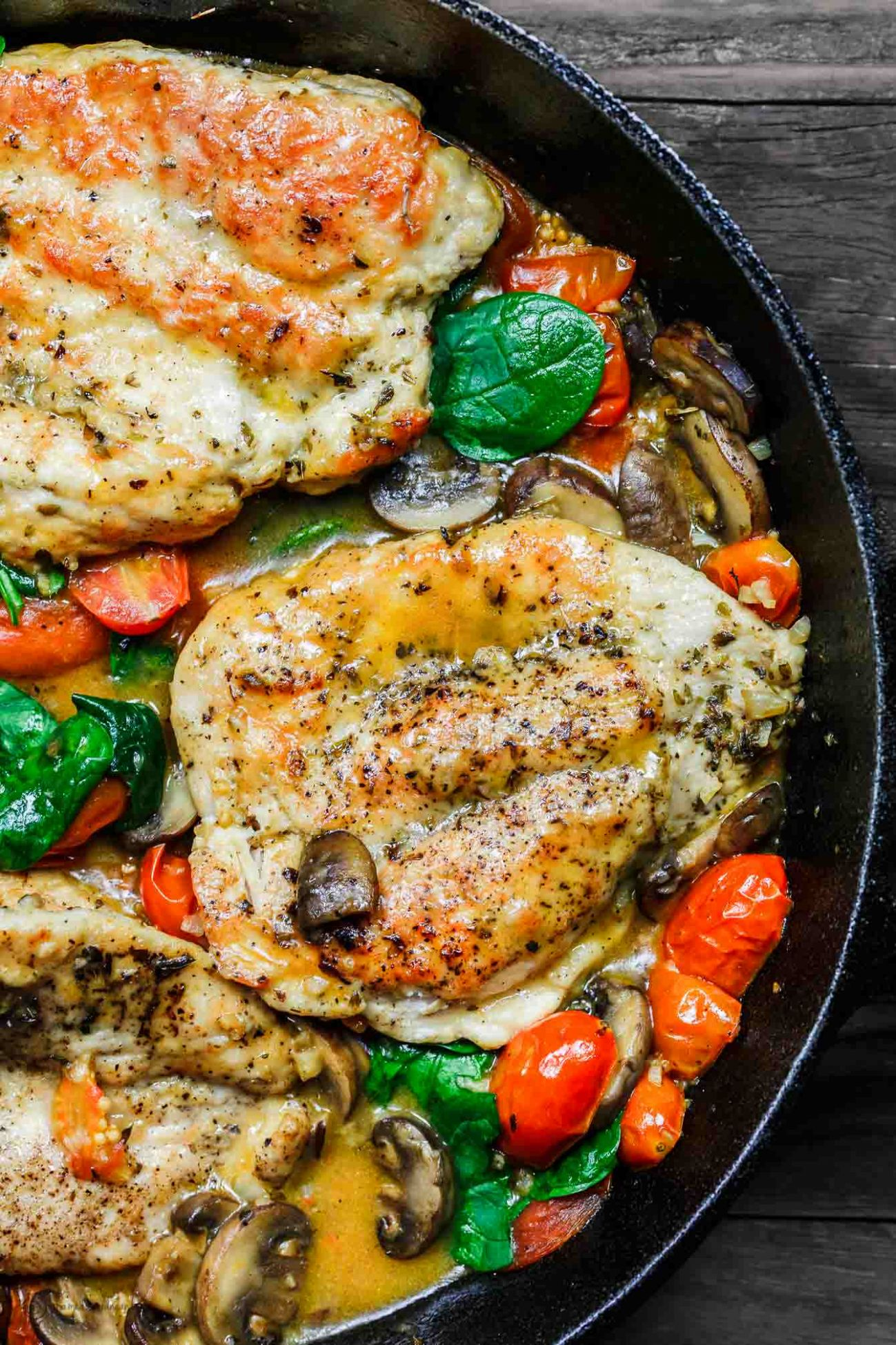 Italian Skillet Chicken with Tomatoes and Mushrooms - Recipes Chicken Breast Tomatoes