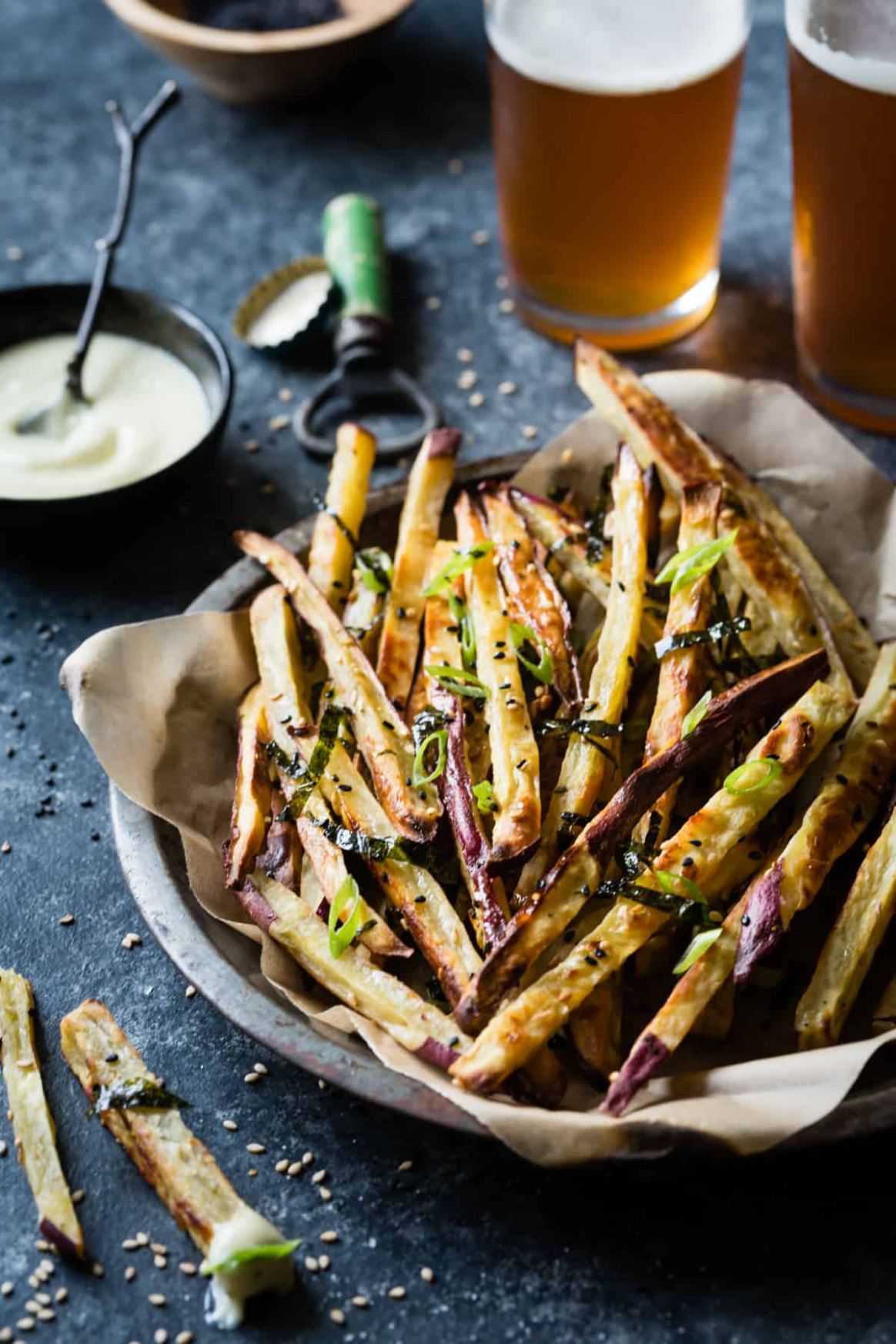 Japanese Sweet Potato Oven Fries with Wasabi Aioli - Sweet Potato Recipes Japanese