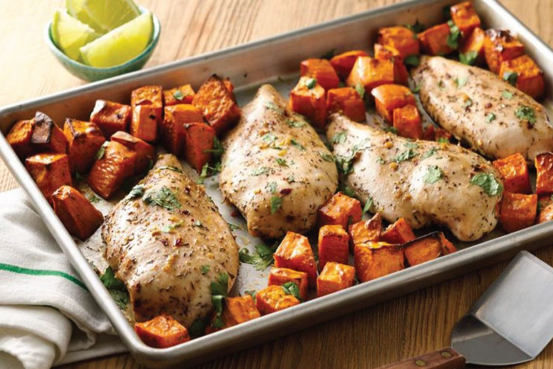 Jerk Chicken with Sweet Potatoes Sheet-Pan Dinner - Dinner Recipes Kenya