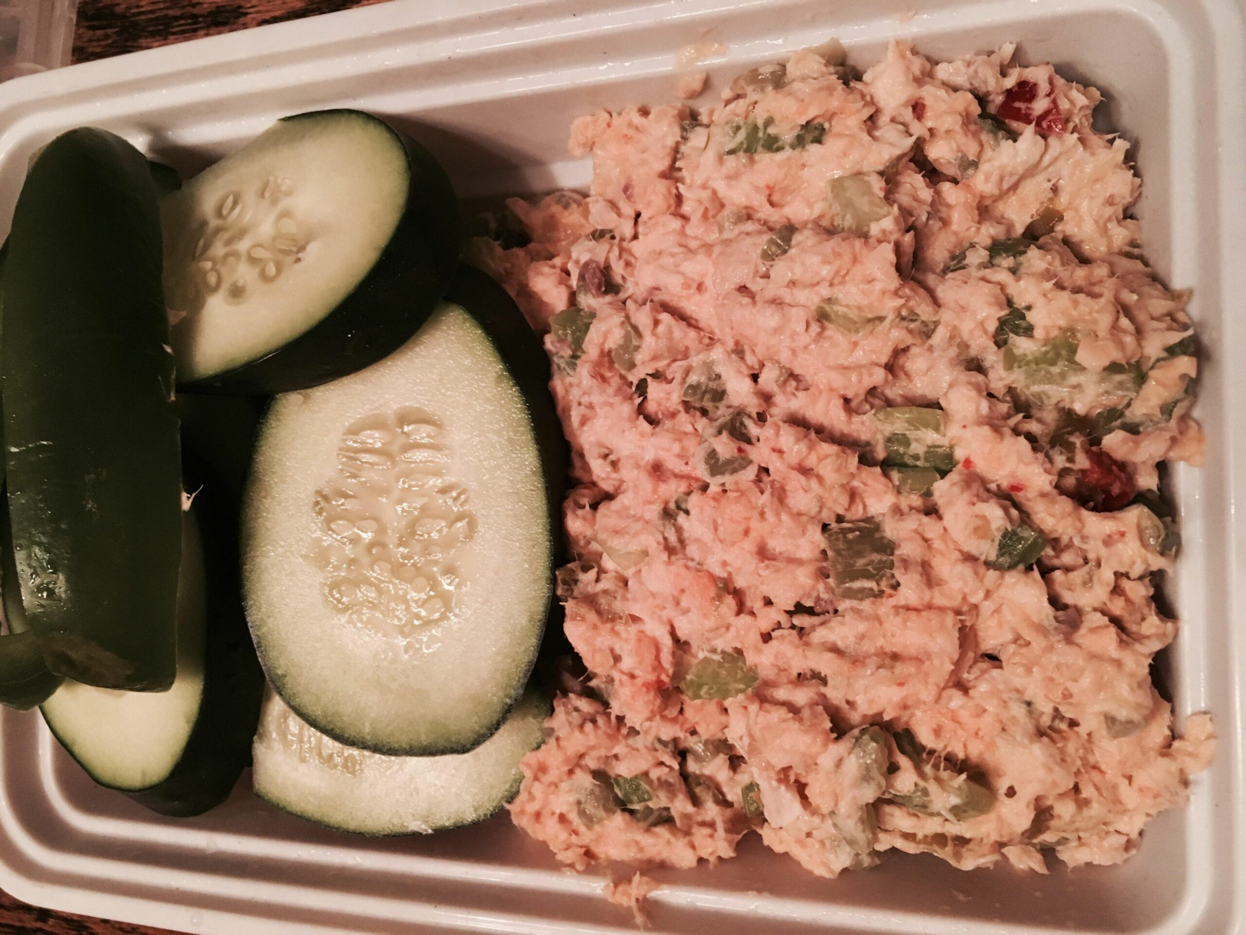 Just under 12 calories and 12g protein. Salmon salad with ...