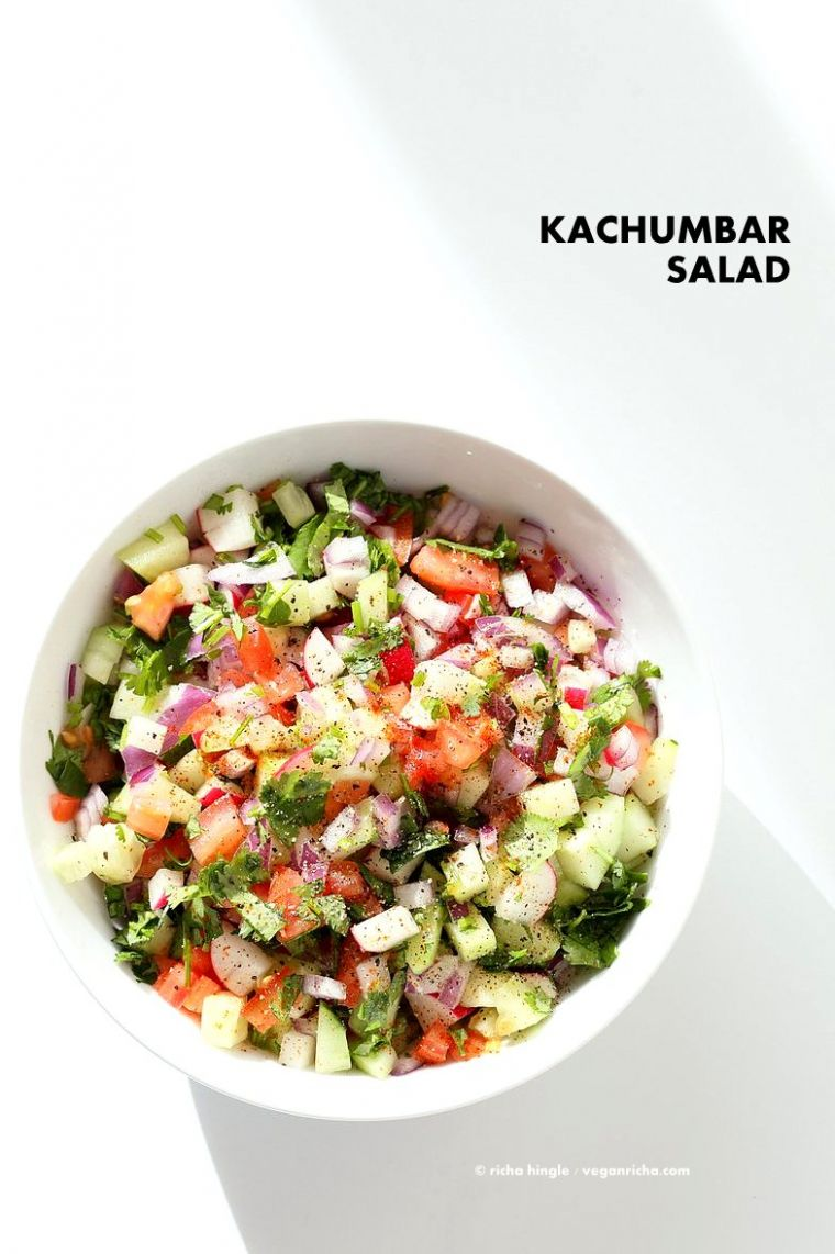 Kachumber Salad - Cucumber Tomato Onion Salad Recipe - Salad Recipes India