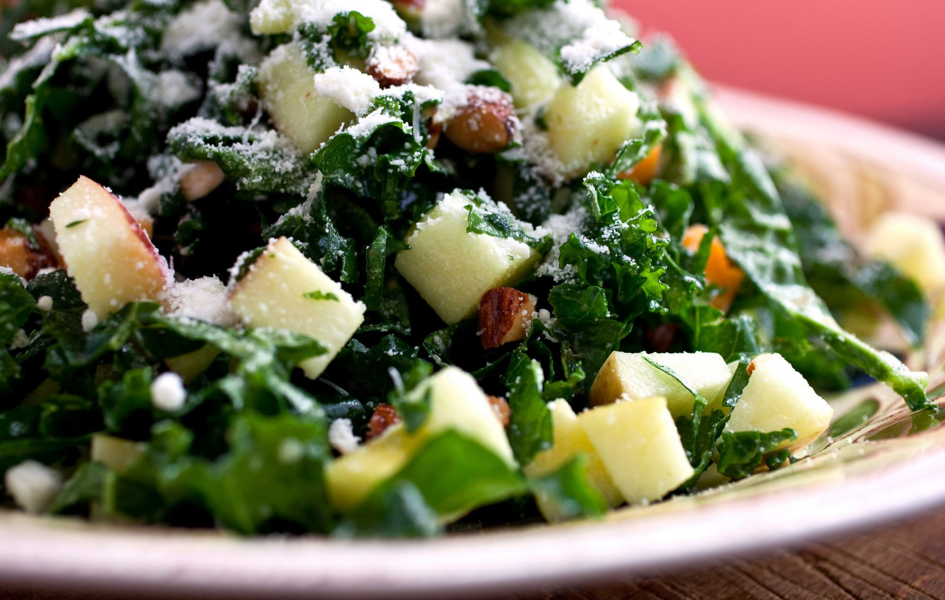 Kale Salad With Apples, Cheddar and Toasted Almonds or Pine Nuts ..
