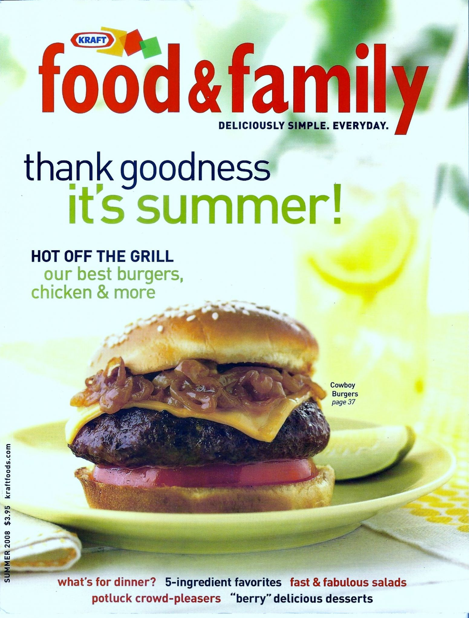 Kraft Food & Family Summer 10 | Cowboy burger recipes, Kraft ...