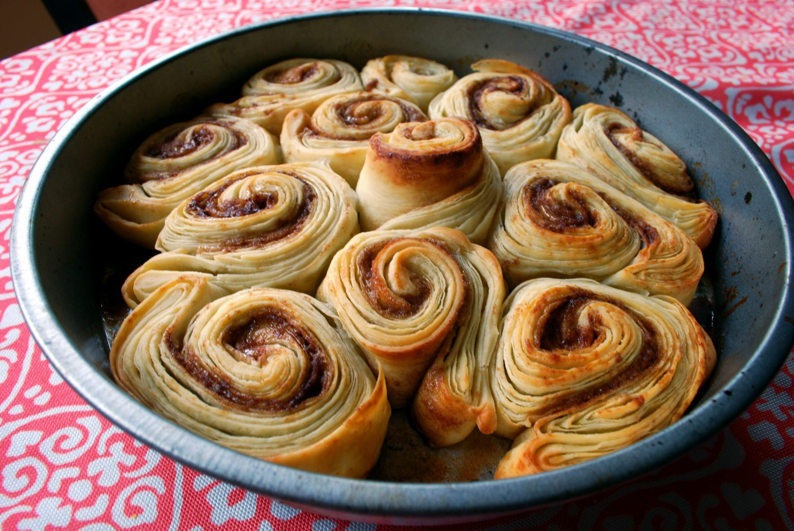 "Leftover pizza dough used to make ""croissant-folded Cinnamon rolls .."